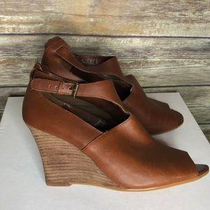 Lauren Ralph Lauren Jamie wedge peep toe brown 8
